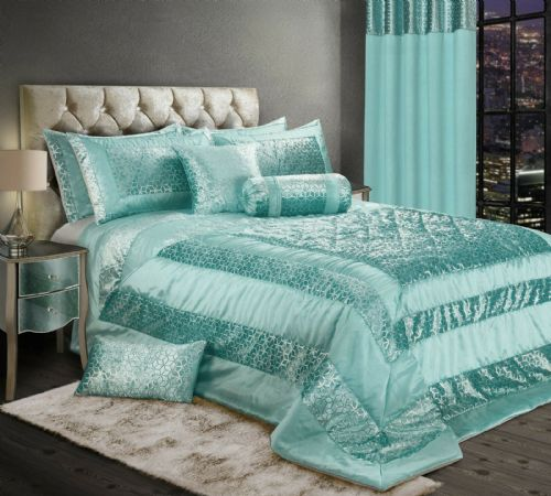 LUXURY EMBOSSED CRUSHED VELVET SHINY FOIL PRINT BEDSPREAD SET WITH PILLOWSHAMS DUCK EGG & SILVER